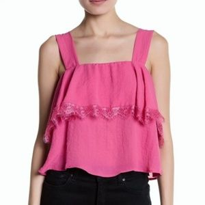 CAD lace detail popover cropped tank top blouse S